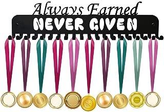 ULwysd Medal Holder, Always Earned Never Given Medals Display Hanger Rack for Over 40 Medals – Coated Pure Steel Wall Mount Easy to Install Race Runner Medal Frame (Black)