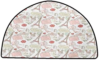Print Floor Mats Bedroom Carpet Paris,French Pop Culture Lovers in Streets Bonjour Je Taime Flower Pastel Life Image,Dried Rose Cream,W35 x L24 Half Round Contemporary Indoor Area Rugs