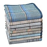 HOULIFE 6/9 pañuelos de tela para hombre, 100 % algodón, suave, con patrón de cuadros, 38 x 38 cm / 15 x 15 cm 40 x 40 cm, 9 unidades 40x40cm