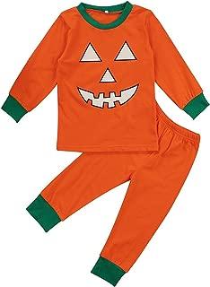 BELS 男婴女孩万圣节南瓜睡衣睡衣连身衣和儿童 T 恤裤子套装