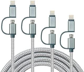 2in1ライトニングケーブル Micro usbケーブル 【4本セット0.3m*1m*2m*2m】iPhone充電ケーブルデータ転送 ナイロン編み 急速充電&同期 iPhone XS、iPhone XS Max、iPhone XR,iPhone X/iPhone 8/8 Plus/7/ 6s / 6 Plus/iPad Samsung、Xperia,Nexus、HTC、など多様の機種対応 (0.3m+1m+2m+2m)