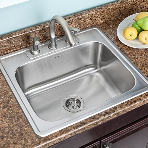 Houzer 2522-9BS3-1 Glowtone Series Topmount Stainless Steel 3-hole Single Bowl Kitchen Sink, 9-Inch Deep