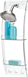InterDesign Suction Bathroom Caddy – Shower Storage Shelf for Soaps and Sponges, Clear Caddy White 23900