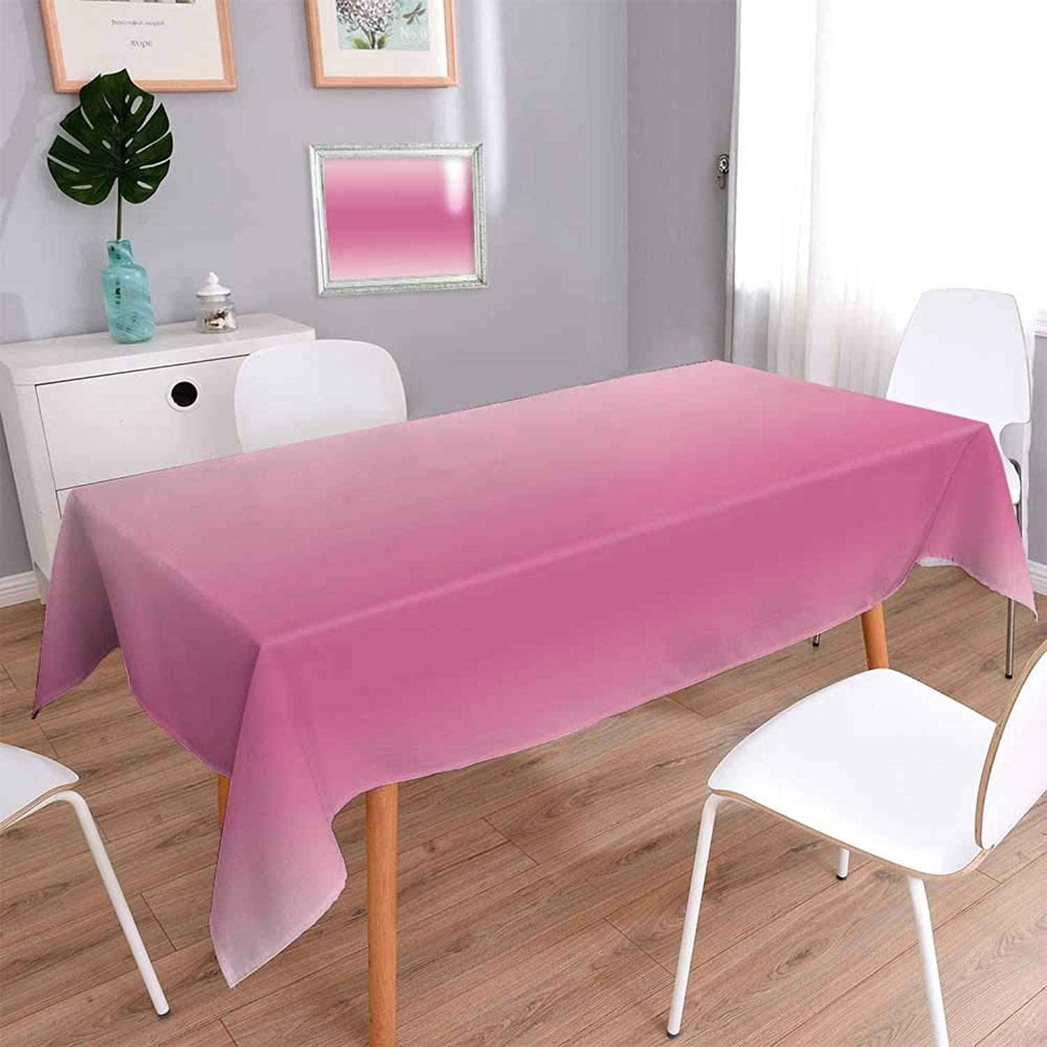 PINAFORE HOME 100% Cotton, Eco-Friendly and Safe Carpet mbre Fairytale Candy Inspired Girly Design ations Digital Modern Pink Linen Cotton Tablecloths for Kitchen Room Rectangle, 70 x 120 Inch