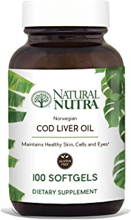 Natural Nutra Norwegian Cod Liver Oil Supplement, Arctic Fish Oil from The Nordic Region, Rich in Omega 3, EPA, DHA, Vitamin A and D, 100 Softgels