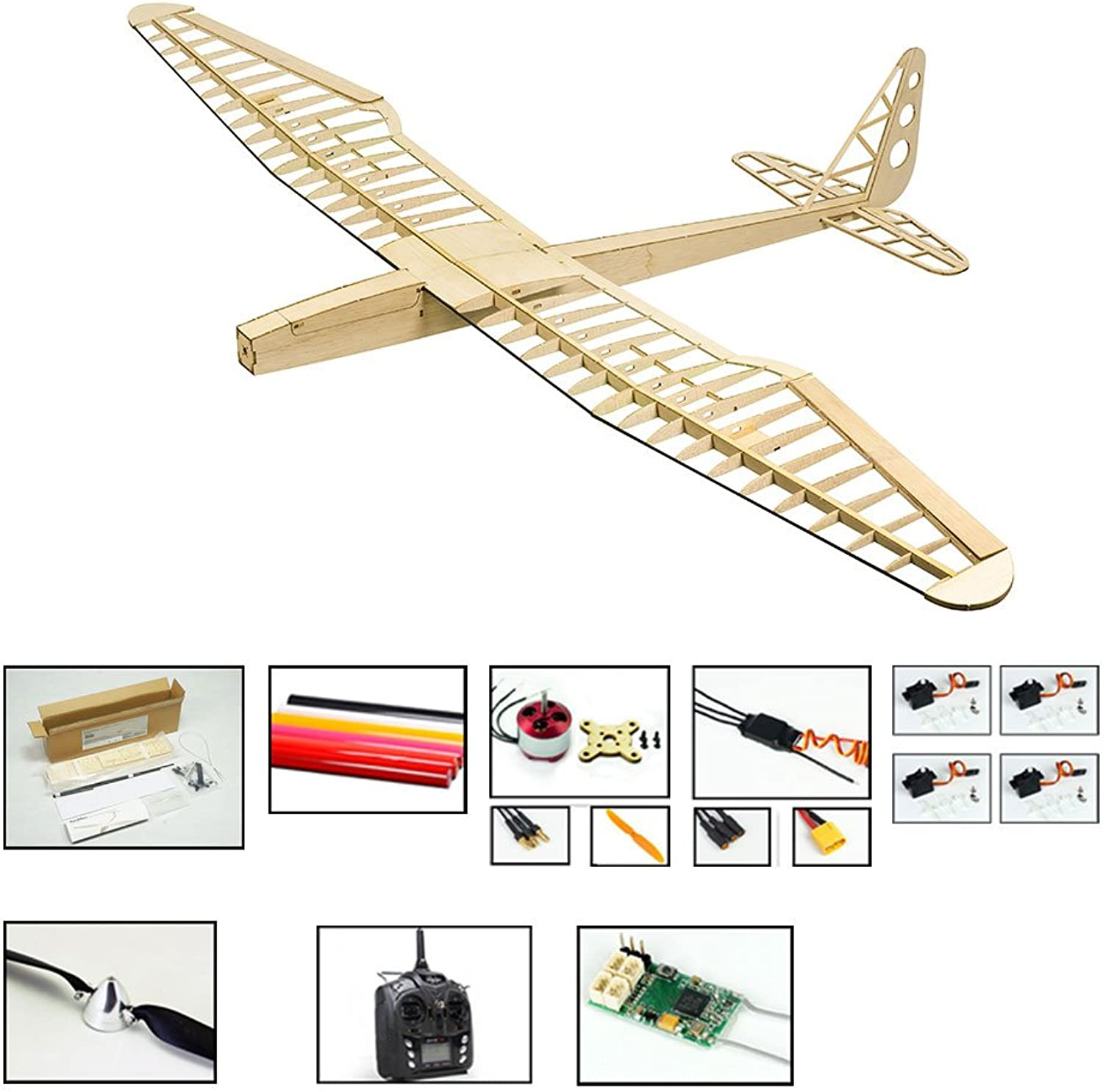 RC Glider Planes, DW Hobby Sunbird Balsa Wood Model Airplane, 1599mm Wingspan, Radio Controlled Model Aircraft Kits to Build and Fly for Adults (F1604C-R3)