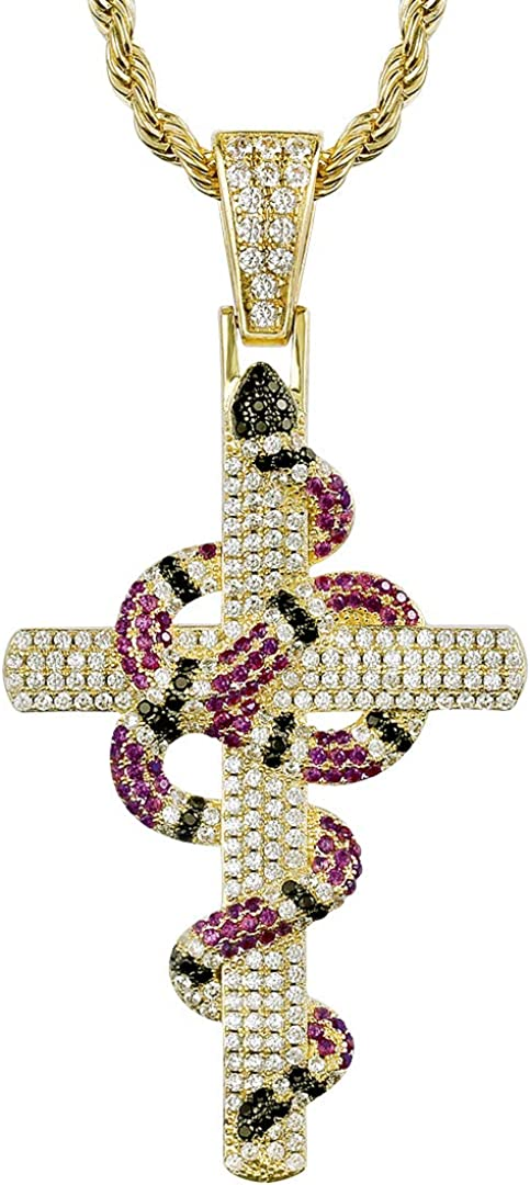 KRKC&CO Hip Hop Pendant, Iced Out Twisted Coral Snake Cross Necklace with 3mm 22