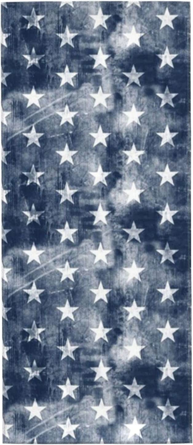Genuine Free Shipping Distressed Dedication Stars On Navy Towels Hand 27.5x12 Washcloths Was Inch