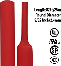 82 Ft XHF 3/32 Inch(2.4mm) 3:1 Waterproof Heat Shrink Tubing Marine Grade Adhesive Lined Heat Shrink, Insulation Sealing Oil-Proof Wear-Resistant Red