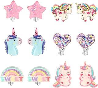 PinkSheep Unicorn Clip On Earrings for Little Girls, Bling Earrings Rainbow Earrings for Kids, 6 Pairs, Best Gift