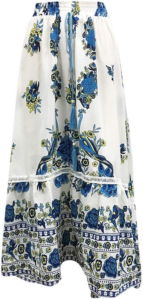 WOYAOFA Women's Long Bohemian Gypsy Boho Elastic High Waist Floral Print Beach Pleated A Line Skirt