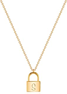 VACRONA Dainty Gold Lock Initial Necklace 18K Gold Plated Initial Padlock Layering Pendant Necklace Personalized Monogram ...
