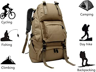 Mountaineering Hiking Trekking Backpack Tactical Camping Bag Daypack Large Capacity Multi Pocket for Outdoor Sport Backpacking Climbing Camping Cycling Fishing Hunting Traveling Khaki