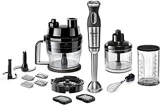 Bosch 博世 MSM881X2 手持料理机套装 (800 W, 切丁机, 12 档速度, 不锈钢搅拌脚,丰富配件), 黑色/拉丝不锈钢