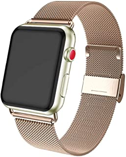 ADWLOF Compatible for Apple Watch Band 42mm 44mm,Stainless Steel Mesh Sport Wristband Loop with Strong Magnetic Closure Strap for iWatch Series 1,2,3,4,5,Light Gold