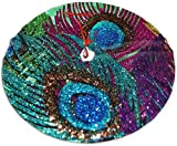 nuoyan Colorful Sparkles Peacock Feather Christmas Tree Skirt Snowflakes Tree Skirt Circle Gorgeous Xmas Tree Mat Holiday Party Decorations 30IN