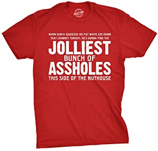 Jolliest Bunch of A-Holes T Shirt Funny Sarcastic Christmas Novelty Tee for Guys, Red, X-Large