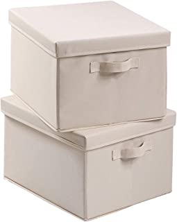 SAMEXE Foldable Fabric Storage Box with Lid, Decorative Linen Filing & Storage Office Box | Letter/Legal | Charcoal | (Beige, 2 Pack)