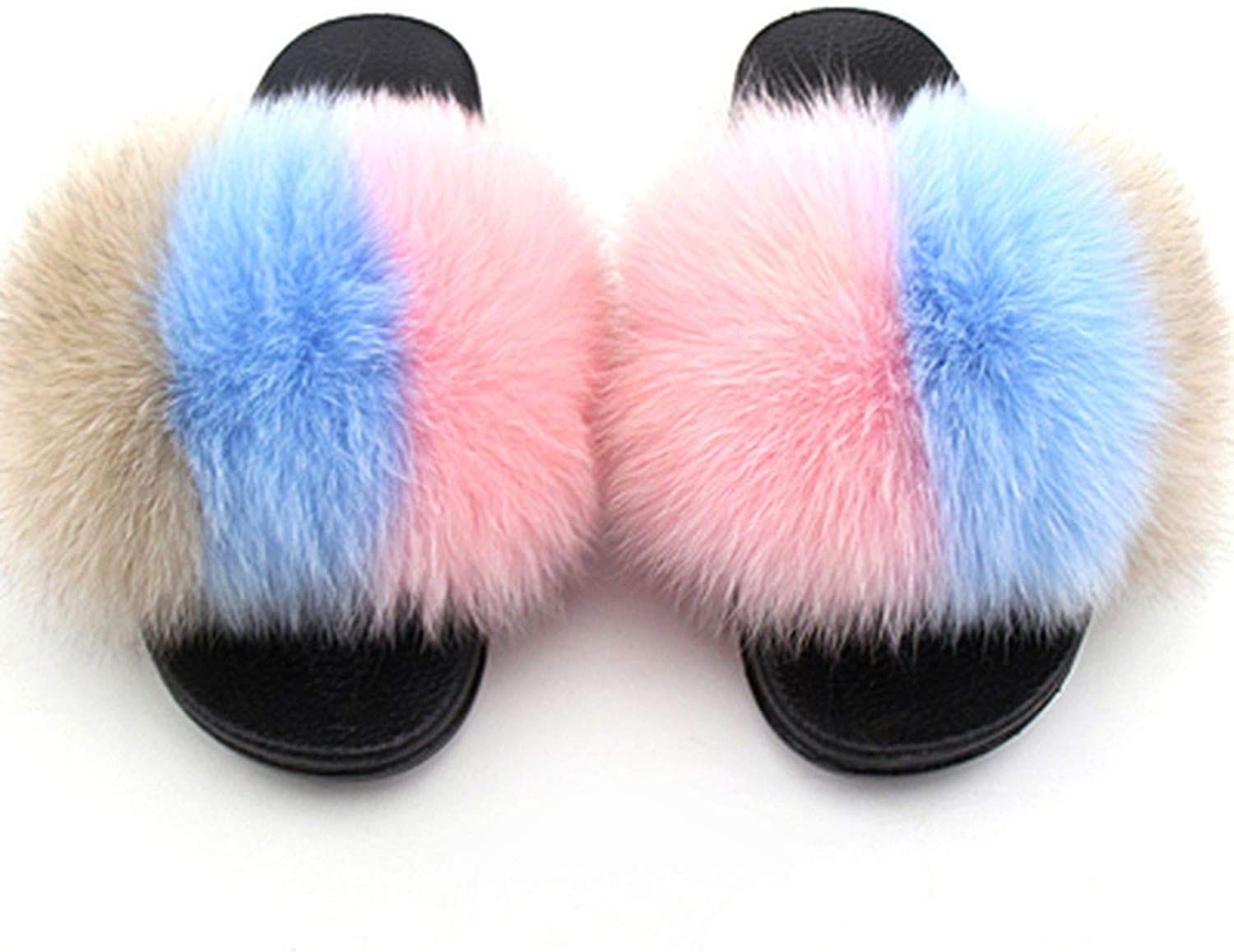 Huntty Plus Size Fur Slippers Mixed colors Open Toe Real Fox Beach Slides 2019 Women's Furry Flip Flops Hair shoes,Mixed colors,8.5