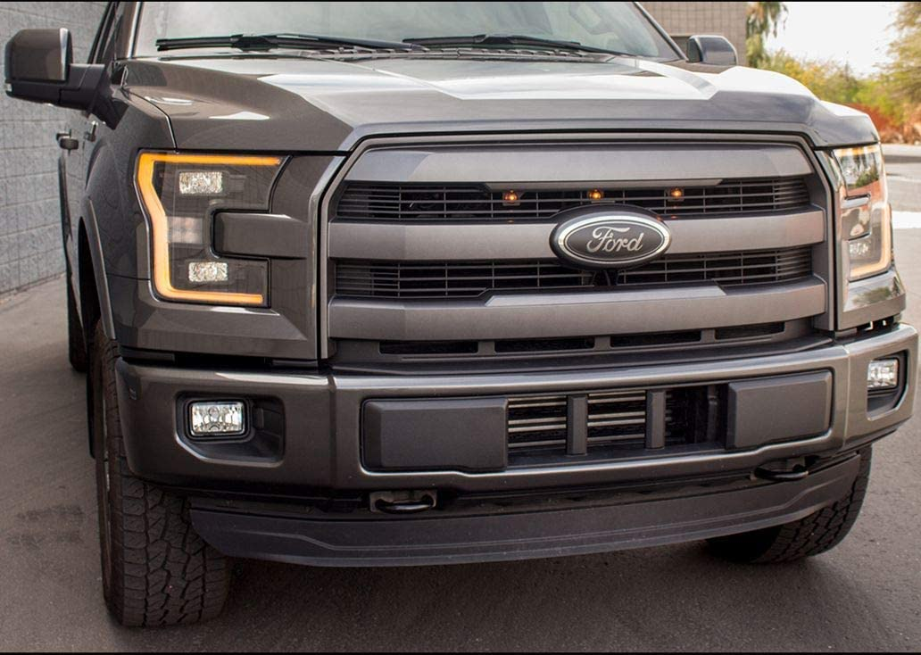 Black Emblem Replacement W//Nuts Compatible With F150 2005-2014,Oval 9X3.5,3 Mounting Tabs,Front Grill Badge NamePlate Fits 05-07 F250 F350 11-14 Edge 11-16 Explorer 06-11 Ranger