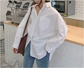 Spring Autumn Women Shirts Loose Blouses Female Tops Loose (Color : White, Size : X-Large)
