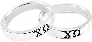 Chi Omega Sorority Sterling Silver Skinny-Band Ring