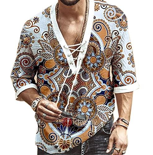 Camiseta De Manga Media con Lazo En El Pecho para Hombre Camiseta Estampada con Cuello En V Camiseta con DiseñO De Moda Camiseta para Hombre Camiseta De Manga Corta para Hombre