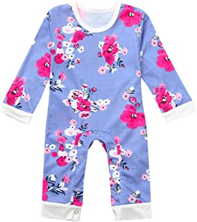 13f9af2a722e NUWFOR Newborn Baby Boy Girl Clothes Long Sleeve Romper Jumpsuit Floral Outfits  Clothes