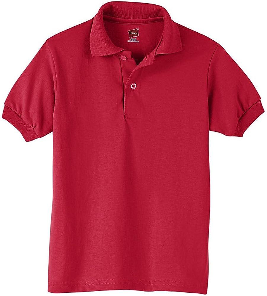 Hanes Boys' Cotton-Blend Jersey Polo_Deep Red