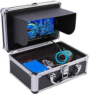 Ktong Cámara de Pesca submarina portátil, 24 Luces LED Blancas e infrarrojas Ajustables con Monitor de Color HD de 7 Pulga...