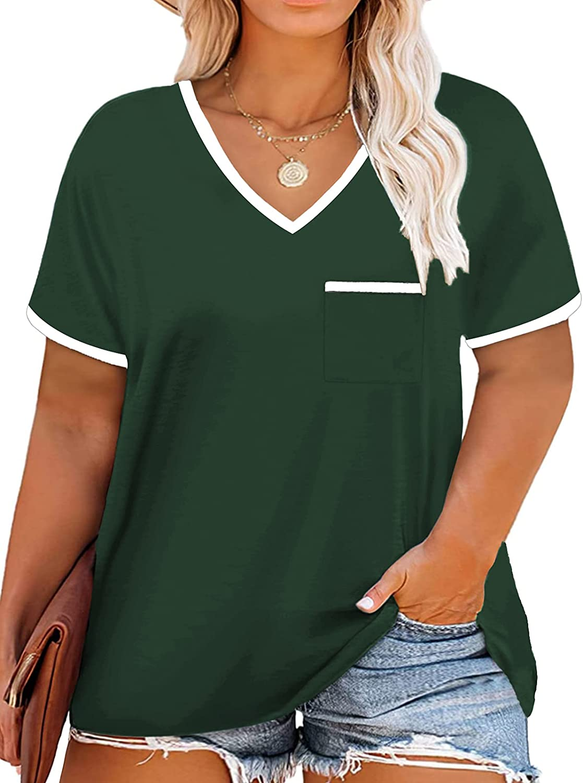 ROSRISS Plus-Size Tops for Women Summer Casual T Shirts Flowy Tunics Tee XL-4XL