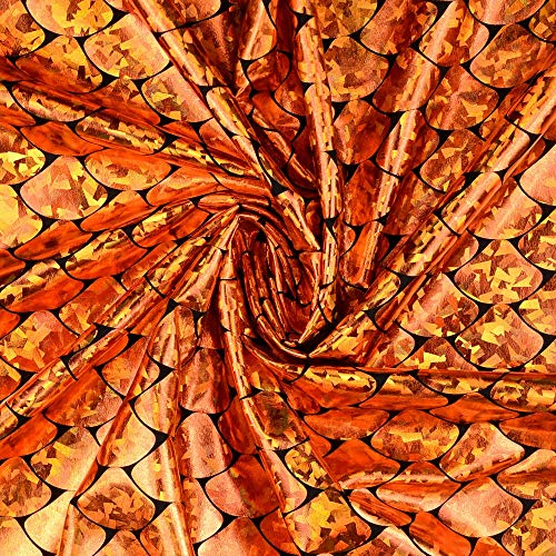 Stoffe Schulz | Elastic Folienjersey Schuppen, orange | Meterware ab 0,5m