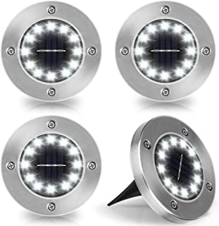 Nasharia 4 Pack 12 LED Luces Solares LED Exterior Jardin Potentes, Luces Solares LED Exterior Jardin Suelo IP65impermeables,Luces Solares Jardín LED Lámpara Solar para el Césped, Pasarela(Blanco)
