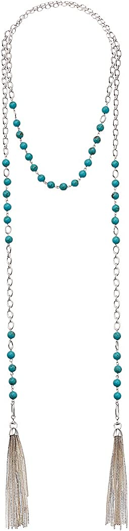 "Turquoise 54"" Tassel Necklace"
