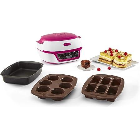 Tefal Cake Factory Intelligente à Gâteaux Appareil, Cuisson Conviviale, Pâtisserie,Machine à Pain, Muffins, 3 Inclus, 5 Programmes, Compatible Moules CrispybakeKD801812, Plastique, Blanc/Framboise