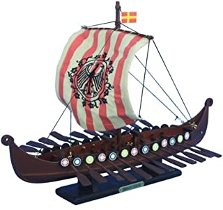 Hampton Nautical Wooden Viking Drakkar with Embroidered Raven Limited Model Boat, 14