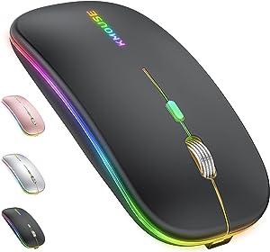 Bluetooth Mouse for Mac Laptop iMac iPad MacBook Pro MacBook Air Desktop Computer Win7/8/10 PC Chromebook DELL HP Microsoft,Rechargeable Dual Mode Bluetooth Mouse (LED Bluetooth+2.4G Black)
