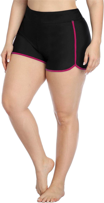 ALove Women Plus Size Swim Shorts High Waist Board Shorts Stretchy Swimsuit Bottoms