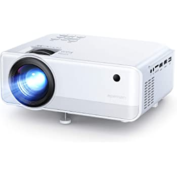 Mini Projector, APEMAN 6000 Lumen 1080P Supported Projector, 200'' Display 55000 Hrs LED Life, Dual Speakers Portable Projector, Compatible with HDMI, USB, VGA, TF, PS4, Laptop, DVD for Home Cinema