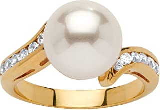 18K Yellow Gold Plated Round Simulated Pearl and Round Cubic Zirconia Ring