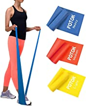 Potok Resistance Band Set, 3Pack Latex Elastic Bands for Upper & Lower Body & Core Exercise, Physical Therapy, Lower Pilates, at-Home Workouts, and Rehab, Yellow & Red & Blue