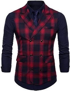 Men's Sleeveless V-Neck Double Breasted Grid Plaids Dress Vest Waistcoat