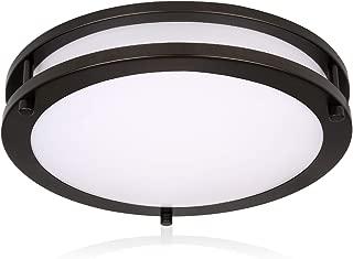 Hykolity 10 Inch Dimmable LED Ceiling Light, 17W [120W Equivalent] 1100lm 4000K Oil Rubbed Bronze Finish Saturn Flush mount Ceiling Lamps, ETL for Hallway, Bathroom, Kitchen, Bedroom, Restroom