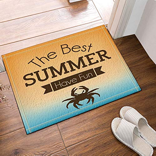 lovedomi The Best Summer Have Fun,Crab Bath Rugs Non-Slip Doormat Floor Entryways Outdoor Indoor Front Door Mat Kids Bath Mat 15.7x23.6in Bathroom Accessories