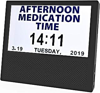 [SANTEK] SAC0700 Digital Medicine Clock and Photo Frame Medication Reminders with 8 Alarm Options Calendar 7inch 1024x600 IPS Clear Display Large Letters - Black