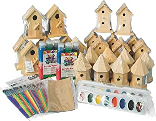 NEW! Decorative Wooden Birdhouse Craft Bulk Kit for Kids and Adults - 24 Sets. Paint Accessories Included!