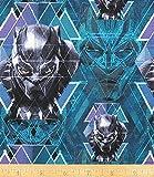 Baumwollstoff mit schwarzem Panther-Kopf auf blaugrünem