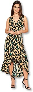AX Paris Women's Leopard Print Wrap Frill Maxi Dress