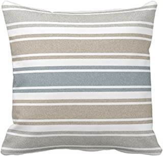 Emvency Throw Pillow Cover Stripes Thin Speckled Coastal Blue Wide Decorative Pillow Case Home Decor Square 20 x 20 Inch Pillowcase