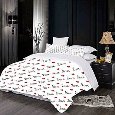 CEFCKB Duvet Cover Twin Red Heart Pattern Washed Microfiber Bedding Comforter Cover with Zipper Closure & Corner Ties, So